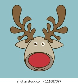 Illustration of cartoon Christmas Reindeer,