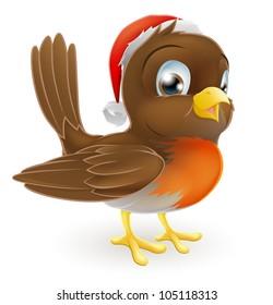 An illustration of a cartoon Christmas Robin in a Santa hat