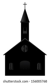 Illustration of a cartoon church silhouette on a white background.