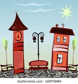 Illustration cartoon city