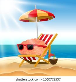 Illustration cartoon concept brain relax on the beach. Vector illustrate.