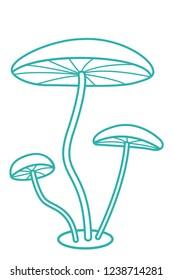 Illustration of the cartoon contour mushrooms