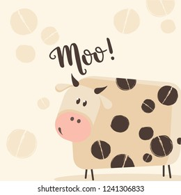 Illustration of a cartoon cow. Moo