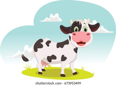 illustration of Cartoon cow standing on grass