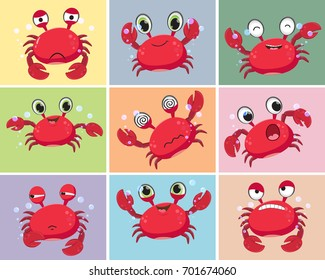 illustration of Cartoon crab collection set