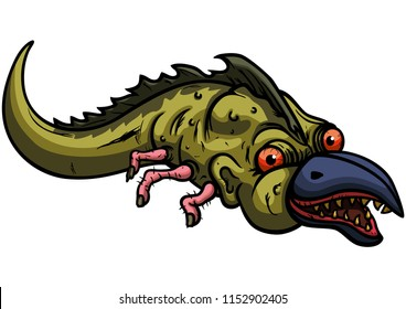 Illustration cartoon creature between a crocodile or a fish with a beak