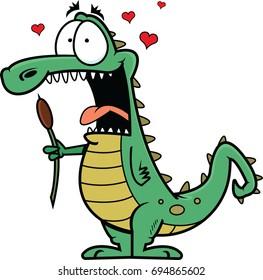 Illustration of a cartoon crocodile in love, holding a bulrush.