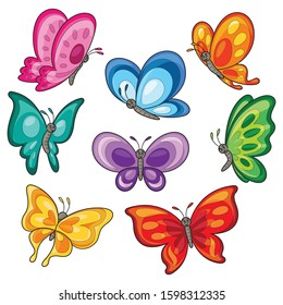 Illustration cartoon of cute colorful butterflies.