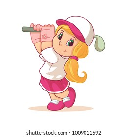 Illustration cartoon cute golf girl wearing glove