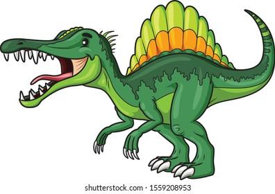 Illustration cartoon of cute spinosaurus cartoon.