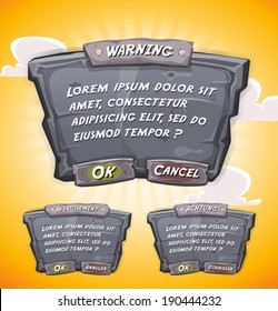 Illustration of a cartoon design ui game stone information panel with text and buttons, on orange yellow summer sky