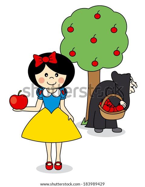 Illustration Cartoon Doodle Story Snow White Stock Vector