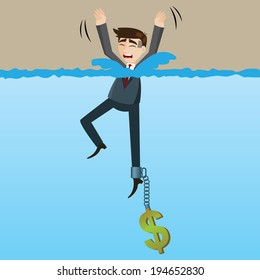illustration of cartoon drowning businessman with money chain on his leg in disaster because of greed concept