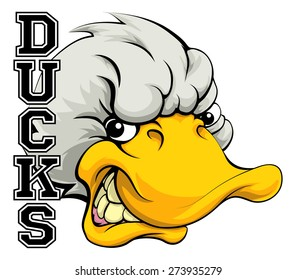 An illustration of a cartoon duck sports team mascot with the text Ducks