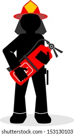 illustration of cartoon fire fighter or fireman with helmet and extinguisher