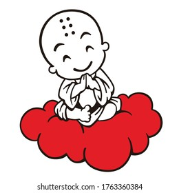 Illustration and cartoon of a flying buddhist monk sitting on a clouds and meditating. A asian shaolin monk in traditional clothes. Buddha's day buddhist lent - magha asanha visakha puja day