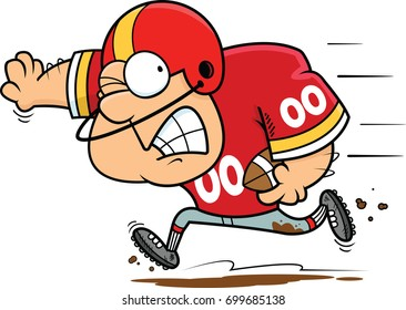 Illustration of a cartoon football player running with the ball.