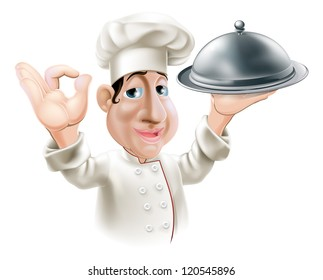 Illustration of a cartoon friendly happy chef with silver serving tray smiling and doing okay sign