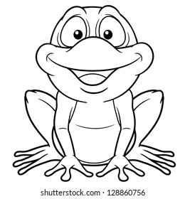 illustration of cartoon frog coloring book - Frog Coloring