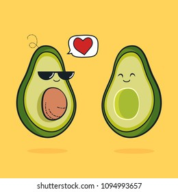 Illustration cartoon funny avocado icon with black sunglasses, cute characters design lover for valentines day avocado concept with vector line art, husband and wife is happiness, fruit love