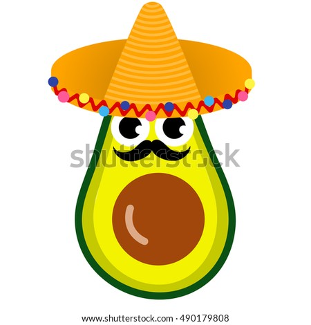 4e97cb76 Illustration cartoon funny avocado icon with mustache and sombrero isolated  on white background / vector eps