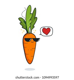 Illustration cartoon funny carrot icon with black sunglasses isolated, vegan concept, carrot love