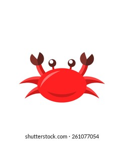 Illustration cartoon funny crab isolated on white background - vector
