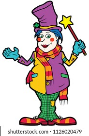 Illustration cartoon funny man with a magic wand disguised in top hat and clown clothes