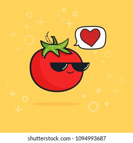 Illustration cartoon funny tomato icon with black sunglasses isolated, vegan concept, vegan love