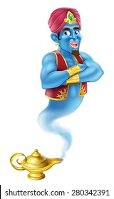An illustration of a Cartoon Genie like in the story of Aladdin coming out of a magic lamp