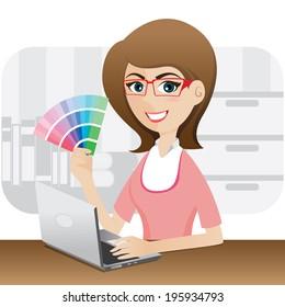 illustration of cartoon girl graphic designer showing color chart