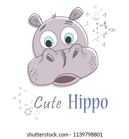 Illustration of a cartoon hippo with the stars. Design for t-shirt. T-shirt graphics for kids.