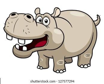 illustration of Cartoon Hippopotamus
