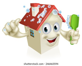 An illustration of a cartoon house cleaning mascot giving a thumbs up and cleaning himself with a bubble covered brush