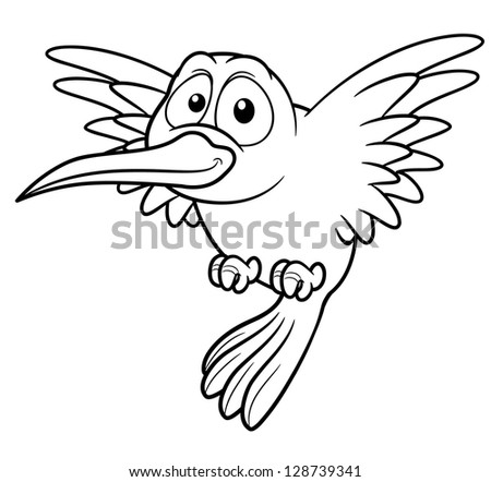 Illustration Cartoon Hummingbird Coloring Book Stock Vector (Royalty ...