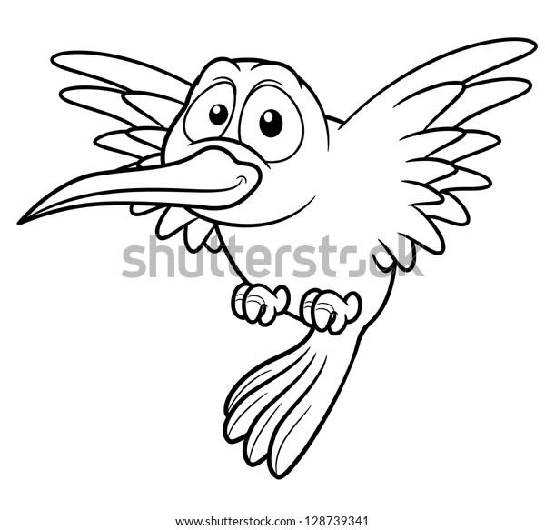 Illustration Cartoon Hummingbird Coloring Book Stock Vector ...