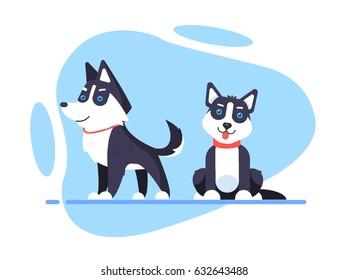 Illustration of a cartoon Husky dog in flat style