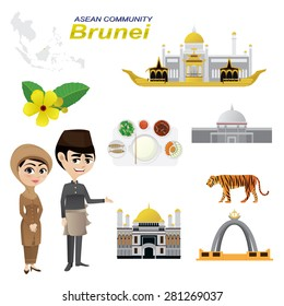 Illustration of cartoon infographic of brunei asean community. Use for icons and infographic. traditional costume national flower animal food and landmark. Elements of this image furnished by NASA