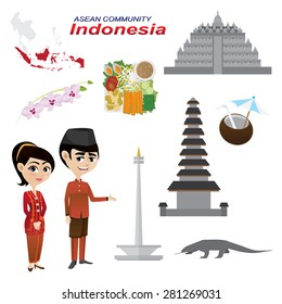 Illustration of cartoon infographic of indonesia asean community. Use for icons and infographic. traditional costume national flower animal food and landmark. Elements of this image furnished by NASA