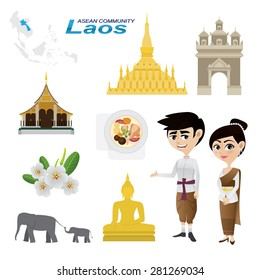 Illustration of cartoon infographic of laos asean community. Use for icons and infographic. traditional costume national flower animal food and landmark. Elements of this image furnished by NASA