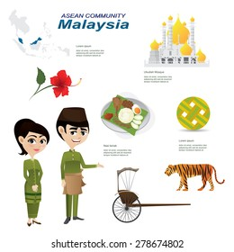 Illustration of cartoon infographic of malaysia asean community. Use for icons and infographic. traditional costume national flower animal food and landmark.Elements of this image furnished by NASA
