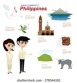 Illustration of cartoon infographic of philippines asean community. Use for icons and infographic. traditional costume national flower animal food and landmark.Elements of this image furnished by NASA