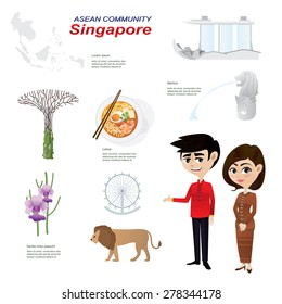 Illustration of cartoon infographic of singapore asean community. Use for icons and infographic. traditional costume national flower animal food and landmark.Elements of this image furnished by NASA