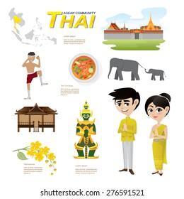 Illustration of cartoon infographic of thailand asean community. Elements of this image furnished by NASA. Can use for infographic and icons.