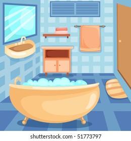 illustration of cartoon interior of a bathroom