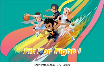 illustration of Cartoon kids sports characters. - vector