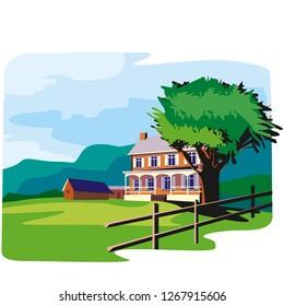 Illustration of cartoon landscape. Cartoon village houses with green field and trees. - Vektör