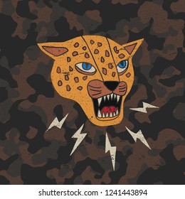 illustration cartoon leopard/T-shirt graphics/ leopard graphics on a camouflage pattern background/vector