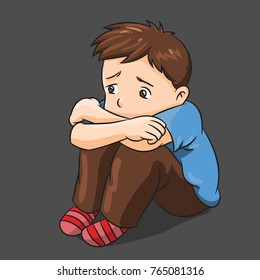 Illustration of Cartoon Lonely Boy - Vector Illustration
