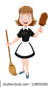 Illustration of Cartoon Maid with broom